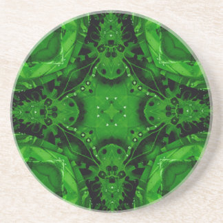 Deep Emerald Green Cross Shaped Design Drink Coasters