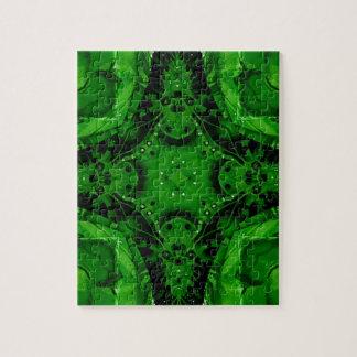 Deep Emerald Green Cross Shaped Design Jigsaw Puzzle