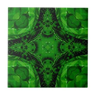 Deep Emerald Green Cross Shaped Design Tile