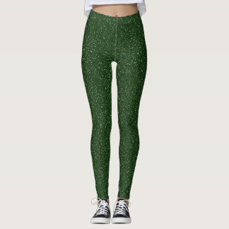 Deep Forest Green Faux Glitter Leggings
