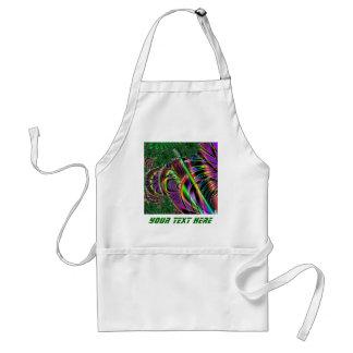 Deep green, and multi-color fractal design. adult apron