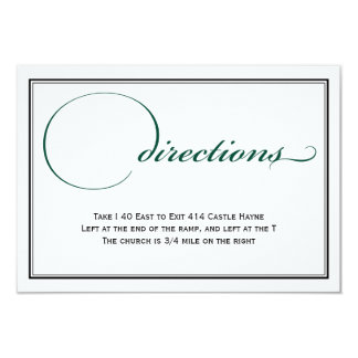 Deep Green and White Wedding Directions Card