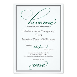 Deep Green Become as One Christian Wedding Card
