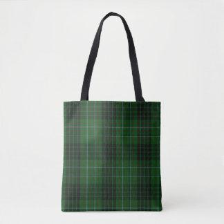 Deep Green Black Red White Tartan Plaid Tote Bag