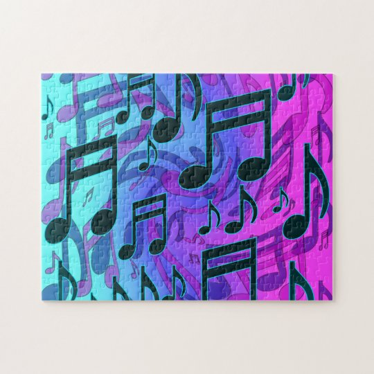 Deep Green Blue Music Notes Swirly Musical Pattern Jigsaw Puzzle