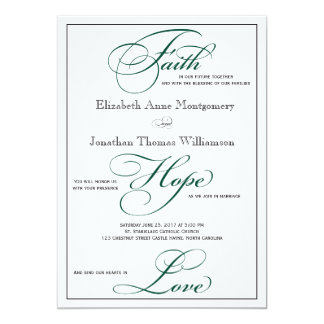 Deep Green Faith Hope Love Wedding Invitation