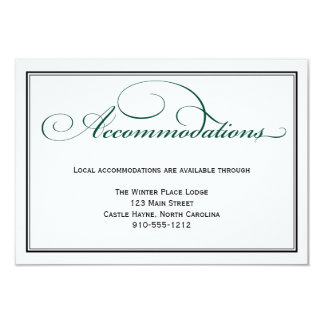 Deep Green Formal Wedding Accommodations Card