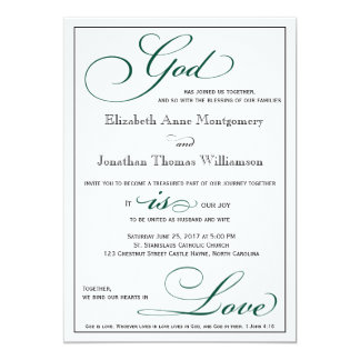 Deep Green God is Love Christian Wedding Card
