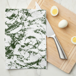 Deep Green Vine Ornament Kitchen Towel