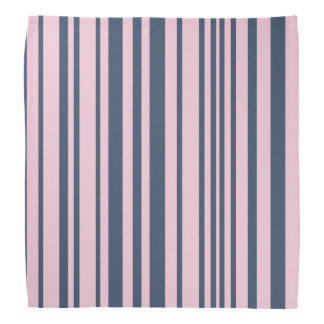 Deep Grey Blue and Pink Stripes Bandana