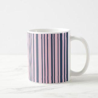 Deep Grey Blue and Pink Stripes Coffee Mug