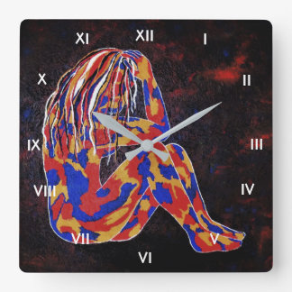 Deep In Thought Square Wall Clock