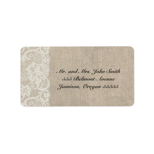 DEEP IVORY Lace and Burlap Address Labels