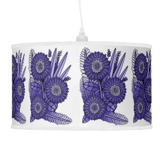 Deep Lavender Gerbera Daisy Flower Bouquet Hanging Pendant Lamps