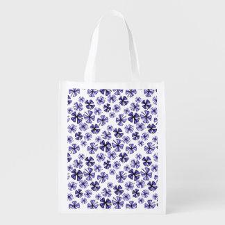 Deep Lavender Lucky Shamrock Clover Reusable Grocery Bag