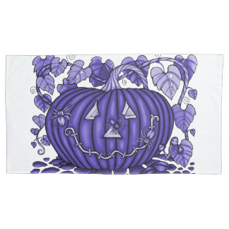 Deep Lavender Spidery Pumpkin Pillowcase