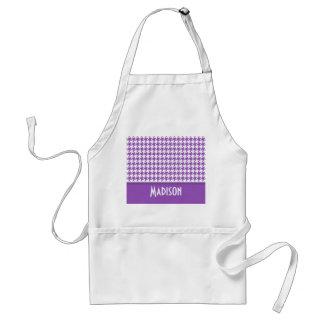 Deep Lilac Houndstooth Personalized Aprons