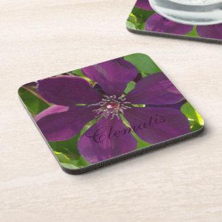 Deep Magenta Clematis Drink Coaster