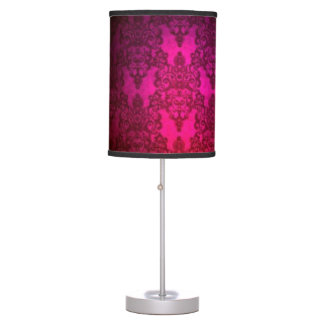 Deep Magenta Pink Victorian Style Damask Pattern Table Lamp