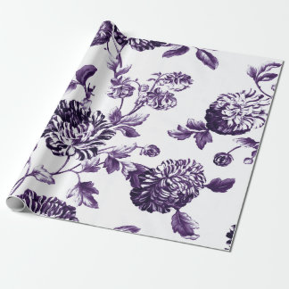 Deep Mulberry Purple Botanical Floral Toile Wrapping Paper