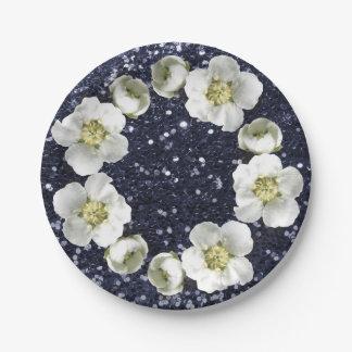 Deep Navy Blue Floral Wreath Wedding Glitter Paper Plate