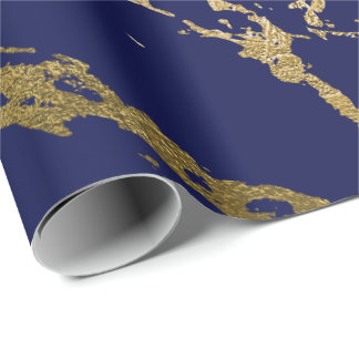 Deep Navy Blue Gold Marble Shiny Glam Wrapping Paper