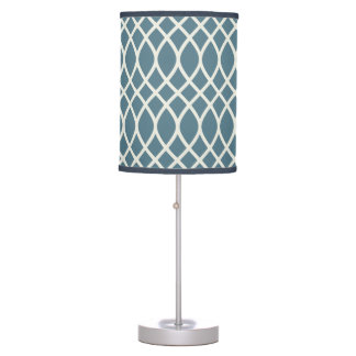 Deep Ocean Blue Trellis Table Lamp