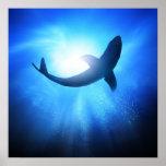 Deep Ocean Shark Silhouette Poster