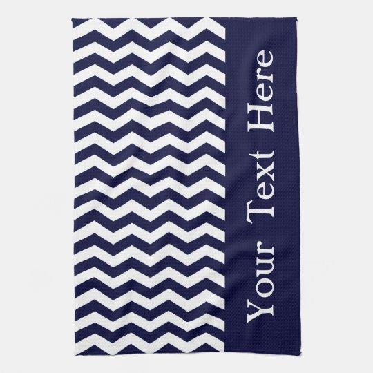 Deep Pacific Blue Wave Chevron customizable Kitchen Towel
