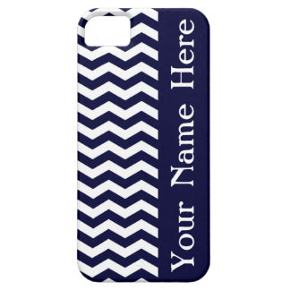 Deep Pacific Blue Wave Chevron with name iPhone 5 Covers