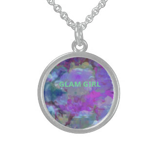 Deep Pastel Floral for Girly Girls Sterling Silver Necklace