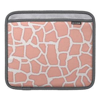 Deep Peach Giraffe Animal Print iPad Sleeves