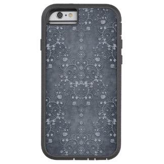 Deep Pewter Grey Silvery Floral Damask Pattern Tough Xtreme iPhone 6 Case