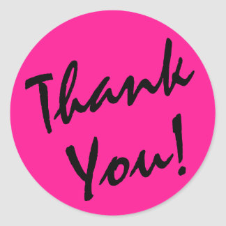 Deep Pink and Black Thank You Classic Round Sticker