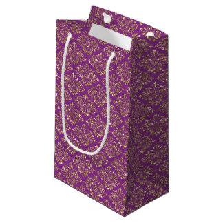 Deep Pink and Gold Damask Gift Bag