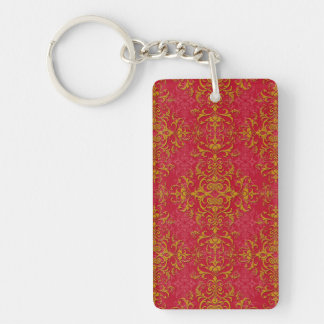 Deep Pink and Gold Fancy Damask Style Pattern Single-Sided Rectangular Acrylic Keychain