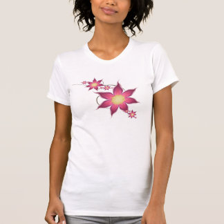 Deep pink and mauve clematis flowers shirts
