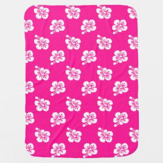 Deep Pink and White Hawaiian Flower Pattern Baby Blanket