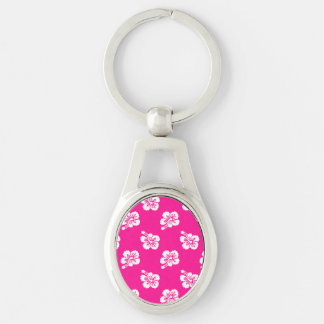 Deep Pink and White Hawaiian Flower Pattern Silver-Colored Oval Keychain