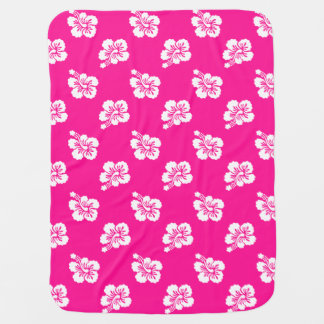 Deep Pink and White Hawaiian Flower Pattern Stroller Blanket
