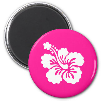 Deep Pink and White Hibiscus Magnet