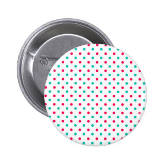 Deep Pink, Aqua, White Polka Dotted Pin