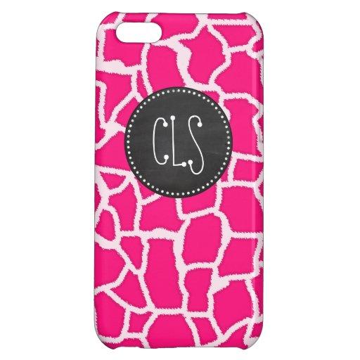 Deep Pink Giraffe Animal Print; Chalkboard iPhone 5C Case