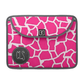 Deep Pink Giraffe Animal Print; Chalkboard MacBook Pro Sleeve
