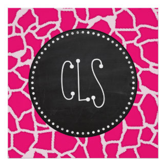 Deep Pink Giraffe Animal Print; Chalkboard