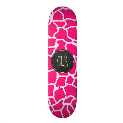 Deep Pink Giraffe Animal Print; Chalkboard Skate Board