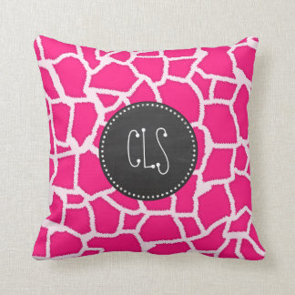 Deep Pink Giraffe Animal Print; Chalkboard Throw Pillow