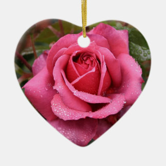 Deep Pink Morning Rose Ceramic Ornament