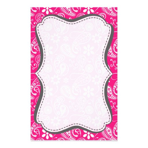 Deep Pink Paisley Personalized Stationery