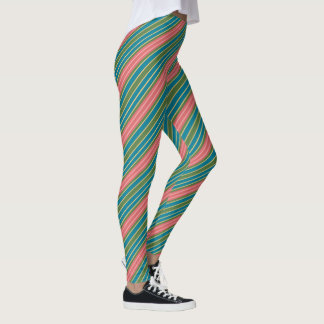 Deep Pink Pale Pink Blue Green Gold-effect Stripes Leggings